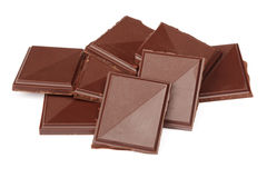Pile of dark chocolate isolated Stock Photography