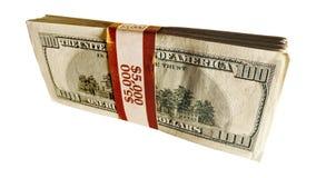 Pile de 100 billets d'un dollar Photographie stock libre de droits