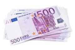 Pile de 500 euro billets de banque Photos libres de droits