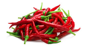 Pile of De Arbol chilies, paths. Pile of De Arbol chile peppers Capsicum annuum, red ripe. Clipping paths, shadow separated Stock Images