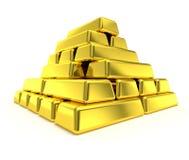 Pile de barres d'or de pyramide d'or Image stock