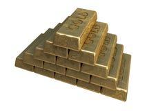 Pile de bars d'or Image stock