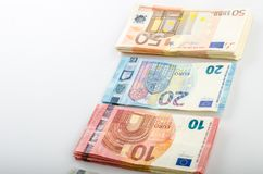 Pile de beaucoup d'euro billets de banque photo stock