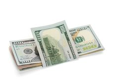 Pile de billets de banque de dollar US, d'isolement sur le blanc photographie stock libre de droits