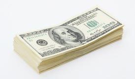 Pile de billets d'un dollar américains de hunderd d'argent Image libre de droits