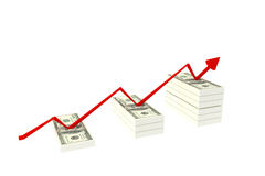 Pile de $100 billets d'un dollar sur le fond blanc et le graphique en hausse rouge avec vers le haut, illustration du rendu 3d, c Images libres de droits