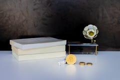 Pile de Bitcoin et de pièces de monnaie et modèle d'avion de passagers, livre - phonographe au-dessus de blanc sur le fond noir photos stock