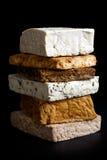 Pile de blocs mélangés de tofu photos libres de droits