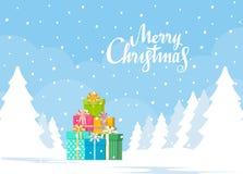 Pile de boîte-cadeau sur le fond de paysage d'hiver Concept de Noël Illustration de vecteur dans le style plat illustration libre de droits