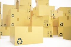 Pile de boîtes en carton d'isolement sur le fond blanc pour la livraison du concept d'affaires rendu 3d Photo libre de droits