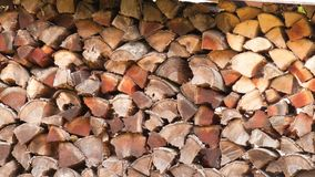 Pile de bois de chauffage pendant le matin photo stock