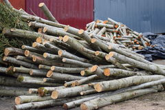 Pile de bois coupé d'incendie Photo stock