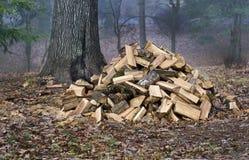Pile de bois de chauffage en brouillard de début de la matinée Photographie stock libre de droits