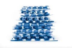 Pile de boursouflures complètement des pilules Image libre de droits
