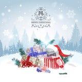 Pile de cadeaux au-dessus de design de carte de salutation de vacances de Forest Landscape Merry Christmas Background d'hiver Photographie stock