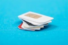 Pile de carte de sim de téléphone Images libres de droits