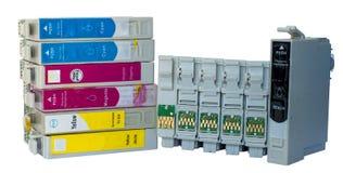 Pile de cartouches colorées par encre utilisées Photos libres de droits