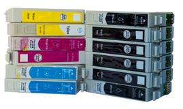 Pile de cartouches colorées par encre utilisées Photo stock