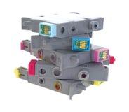 Pile de cartouches utilisées d'imprimante à jet d'encre Photographie stock libre de droits