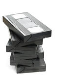 Pile de cassettes visuelles de film de système domestique Images stock
