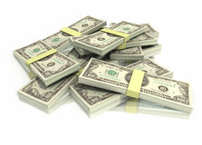 Pile de cents piles de billet d'un dollar Image stock