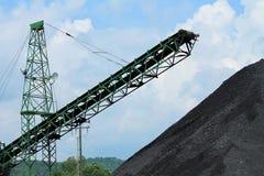 Pile de charbon avec le convoyeur Photographie stock libre de droits