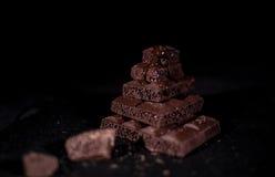 Pile de chocolat noir de pore Image stock