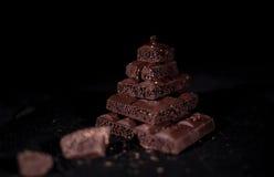 Pile de chocolat noir de pore Photo libre de droits
