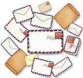 Pile de concept d'illustration de lettre et d'enveloppe Photographie stock