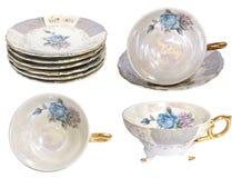 Pile de cuvettes de thé antiques Photos stock