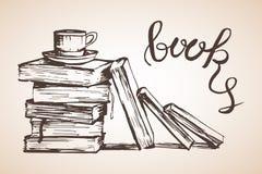 Pile de différents livres avec la tasse Photos libres de droits