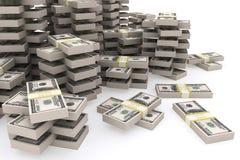 Pile de 100 dollars d'Etats-Unis sur le fond blanc Image libre de droits