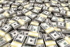 Pile de 100 dollars d'Etats-Unis sur le fond blanc Images stock