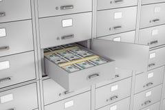 Pile de dollars dans le compartiment de coffre-fort ouvert de banque rendu 3d Photographie stock libre de droits
