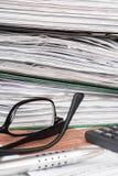 Pile de dossiers avec des documents, Photos stock