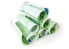 Pile de 100 euro billets de banque Image stock