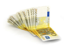 Pile de 200 euro notes Photos libres de droits