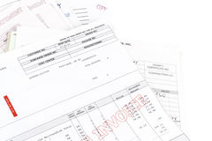 Pile de factures Photo stock