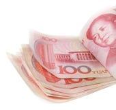 Pile de 100 factures de yuans Photographie stock libre de droits