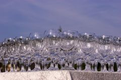 Pile de glaces de vin vides Photos libres de droits
