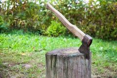 Pile de hache dans le tronc Photographie stock libre de droits