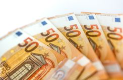 Pile de l'euro 50 comme fin de fond  Image libre de droits