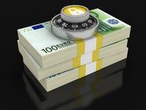 Pile de l'euro protection (chemin de coupure inclus) Photo stock