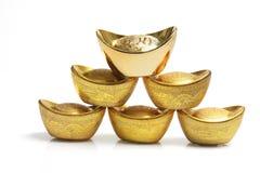 Pile de lingots chinois d'or Images libres de droits