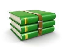 Pile de livre avec la ceinture (chemin de coupure inclus) Photo stock