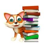 Pile de livre mignonne de personnage de dessin animé de chat Images stock