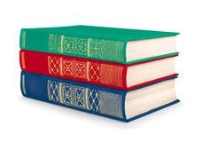 Pile de livres rouges, verts et bleus de vintage Images libres de droits