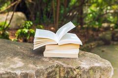 Pile de livres sur une roche Photos stock