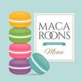 Pile de macarons colorés Macaron différent de gâteau Style plat illustration stock