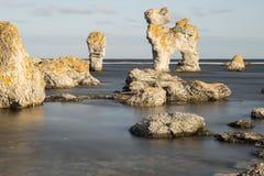 Pile de mer chez FÃ¥rö, Gotland en Suède Photo libre de droits
